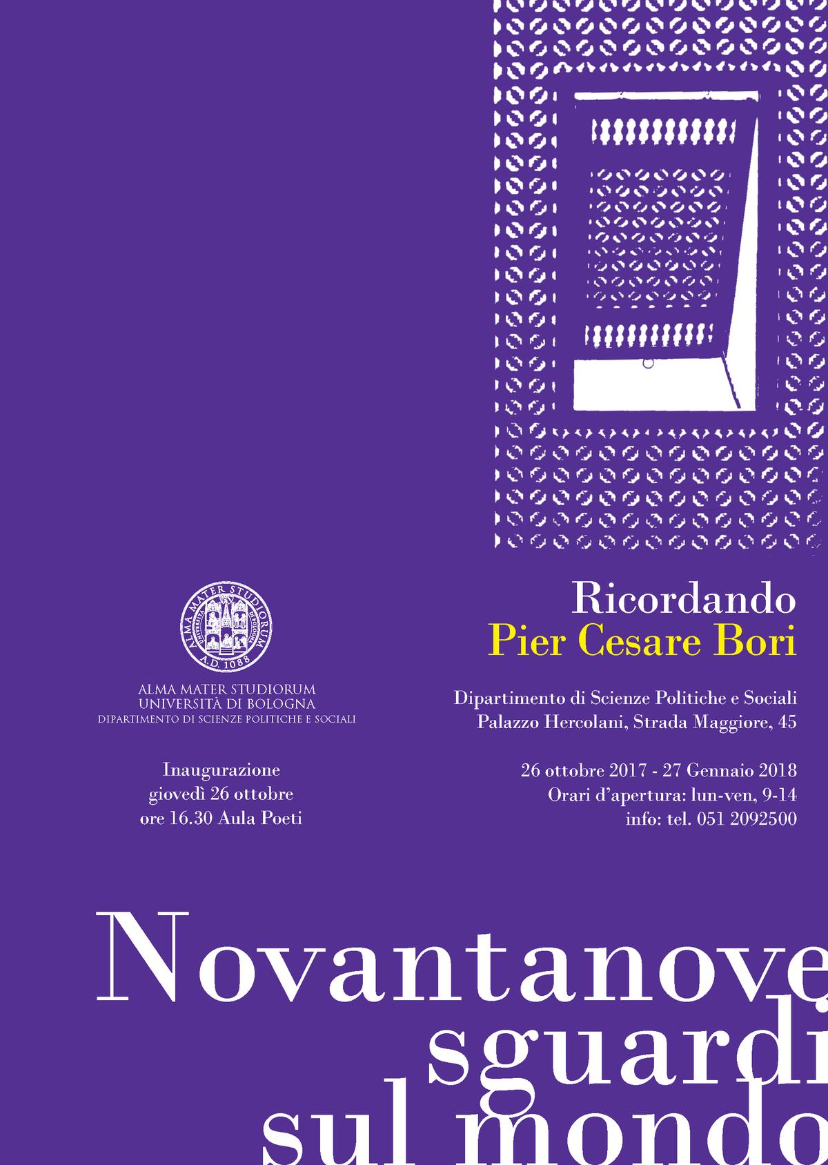 Una mostra a Bologna per ricordare Pier Cesare Bori: 99 sguardi sul mondo