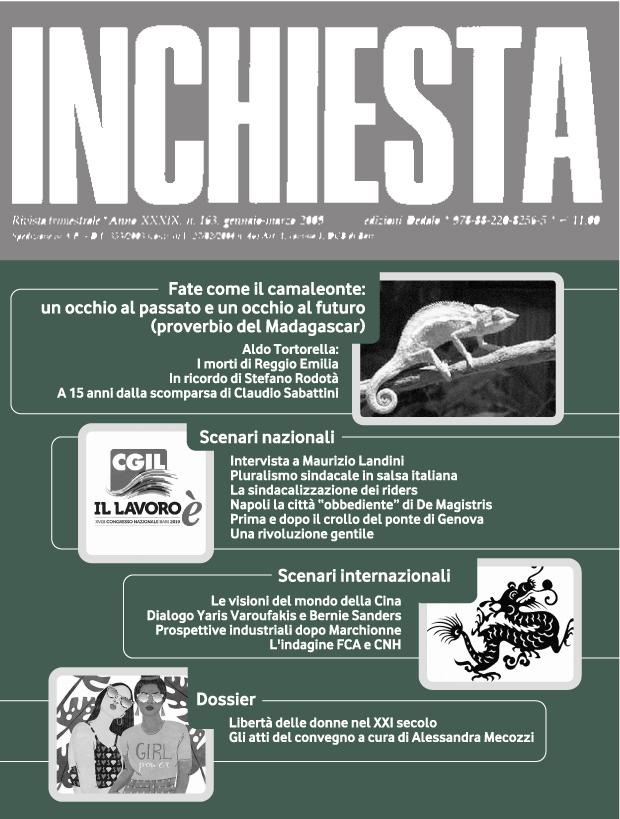 """E' uscito il numero 201 di """"Inchiesta"""" a stampa luglio-settembre 2018"""