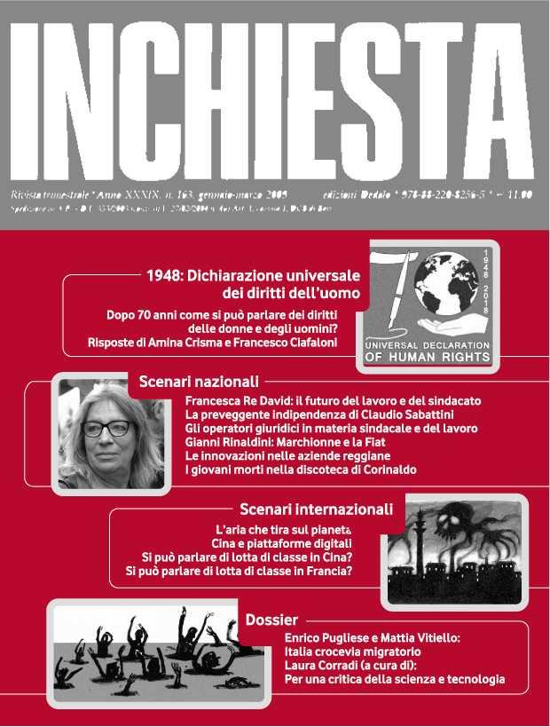 """E' uscito il numero 202 di """"Inchiesta"""" a stampa ottobre-dicembre 2018"""