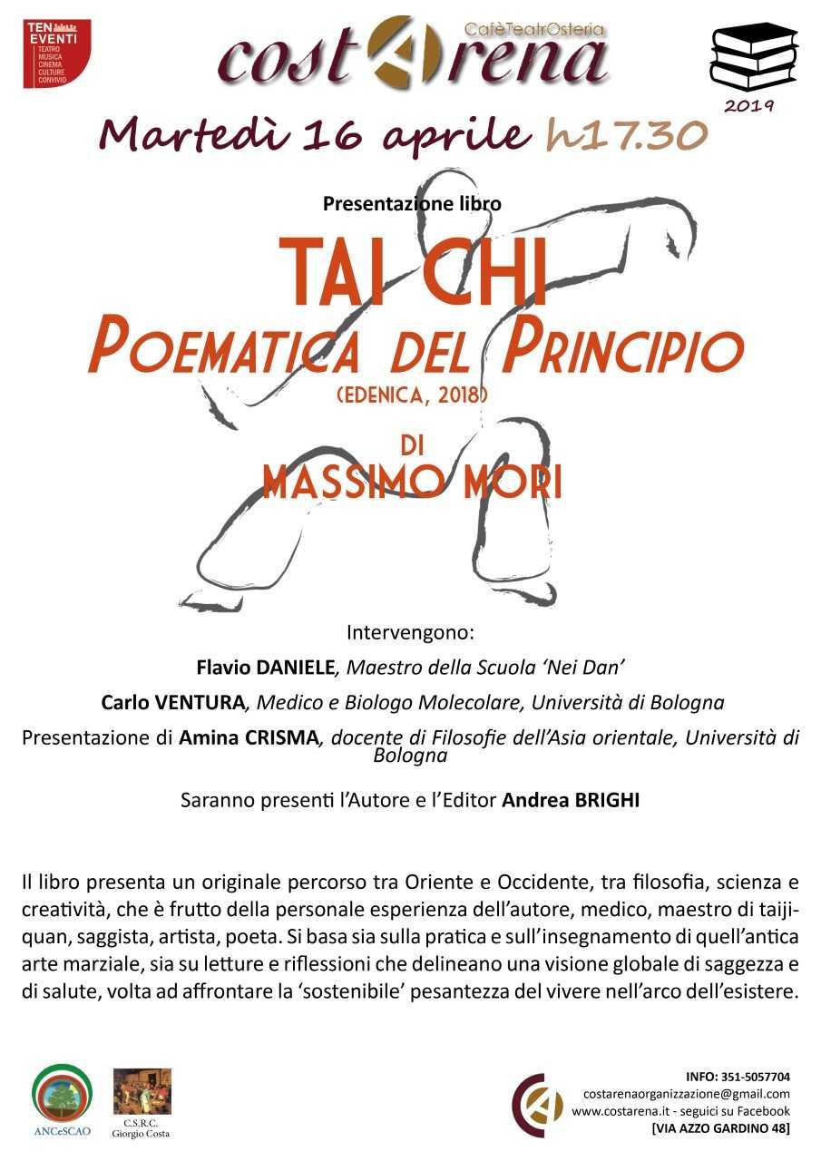 """16 aprile 2019: Sentieri tra Cina e Occidente. Incontro a Bologna su """"Tai chi"""" di Massimo Mori"""