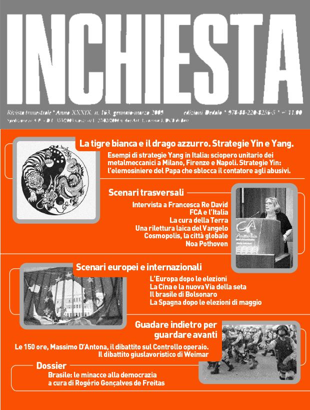 """E' uscito il numero 204 di """"Inchiesta"""" a stampa aprile-giugno 2019"""