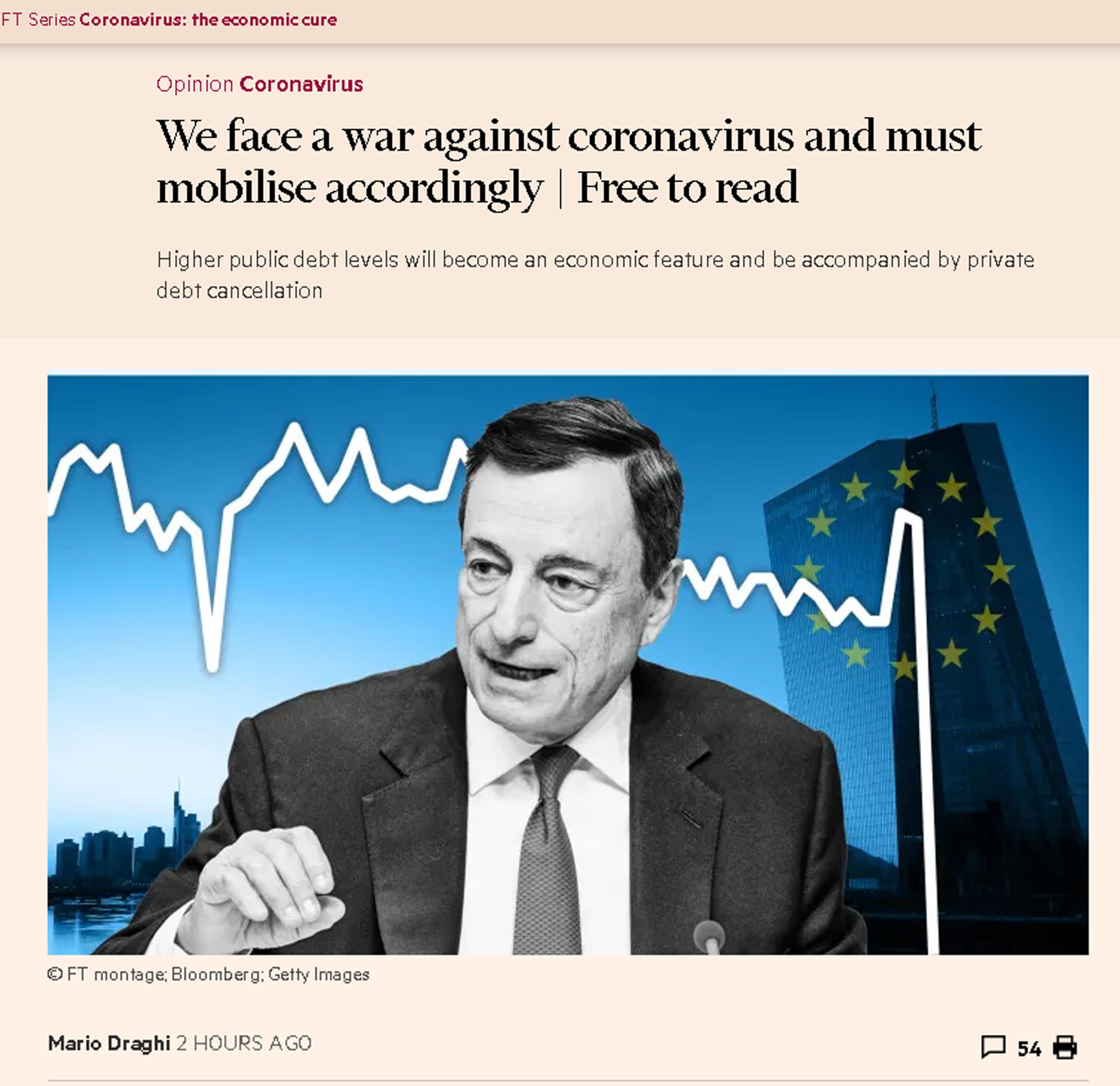 Mario Draghi: Il coronavirus ci pone di fronte a una guerra e dobbiamo mobilitarci di conseguenza