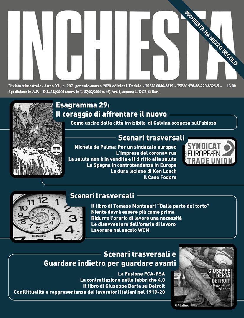 """E' uscito a stampa il numero di """"Inchiesta"""" 207 gennaio-marzo 2020"""