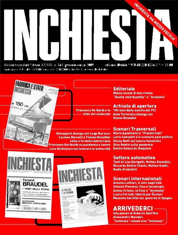 """E' uscito l'ultimo numero della rivista  """"Inchiesta"""" cartacea"""