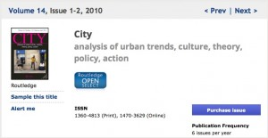 "City: numero monografico ""Graffiti, street art and the city"""