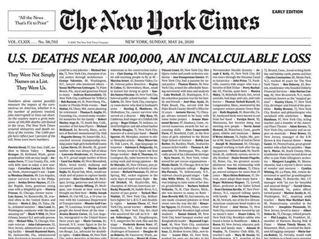 Roberto Dall'Olio: Il New York Times ricorda i morti per Coronavirus